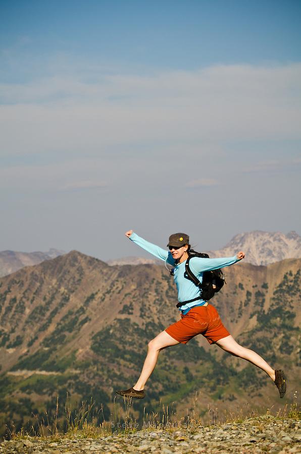Trail running, Harts Pass, North Cascades N.P. WA.