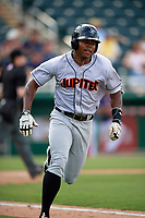 Jupiter Hammerheads left fielder Stone Garrett (26) runs to first base during a game against the Fort Myers Miracle on April 9, 2017 at CenturyLink Sports Complex in Fort Myers, Florida.  Jupiter defeated Fort Myers 3-2.  (Mike Janes/Four Seam Images)