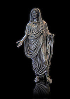 Roman bronze staue of Augustus Ceasar as Pontifex Maximus, late first century B.C, Naples National Archaeological Museum, black background