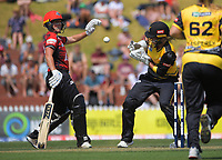 Canterbury's Kate Ebrahim makes her ground as keeper Jess McFadyen tries to control the ball during the Dream11 Super Smash T20 women's cricket final between Wellington Blaze and Canterbury Magicians at the Basin Reserve in Wellington, New Zealand on Saturday, 13 February 2021. Photo: Dave Lintott / lintottphoto.co.nz