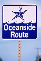 """Oceanside Route"" Highway Sign for Tourist Travel Direction on Vancouver Island, British Columbia, Canada"