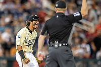 Vanderbilt Commodores third baseman Austin Martin (16) yells in celebration after beating the Louisville Cardinals in the NCAA College World Series on June 21, 2019 at TD Ameritrade Park in Omaha, Nebraska. Vanderbilt defeated Louisville 3-2 to head to the CWS Finals. (Andrew Woolley/Four Seam Images)