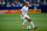 CARSON, CA - JUNE 19: Julian Araujo #2 of the Los Angeles Galaxy moves with the ball during a game between Seattle Sounders FC and Los Angeles Galaxy at Dignity Health Sports Park on June 19, 2021 in Carson, California.