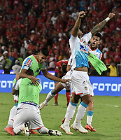 MEDELLÍN - COLOMBIA, 16-12-2018: Rafael Perez , Luis Diaz del Junior celebran el título como campeones después del partido de vuelta Final entre Deportivo Independiente Medellín y Atletico Junior como parte de la Liga Águila II 2018 jugado en el estadio Atanasio Girardot de la ciudad de Medellín. / Rafael Perez, Luis Diaz of Junior celebrate as a champions after Final second leg match between Deportivo Independiente Medellin and Atletico Junior as a part Aguila League II 2018 played at Atanasio Girardot stadium in Medellin city. Photo: VizzorImage / Gabriel Aponte / Staff