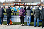 Darlington fans watching their team warm up. Darlington 1883 v Southport, National League North, 16th February 2019. The reborn Darlington 1883 share a ground with the town's Rugby Union club. <br />