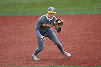 Tennessee Volunteers third baseman Jake Rucker (7) fields a ground ball during the game against the Charlotte 49ers at Hayes Stadium on March 9, 2021 in Charlotte, North Carolina. The 49ers defeated the Volunteers 9-0. (Brian Westerholt/Four Seam Images)