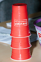 Red cups that look like Solo cups stand stacked in the campaign headquarters of Republican presidential candidate Donald Trump in Manchester, New Hampshire, on the day of the primary, Tues., Feb. 9, 2016. Donald Trump won the primary.