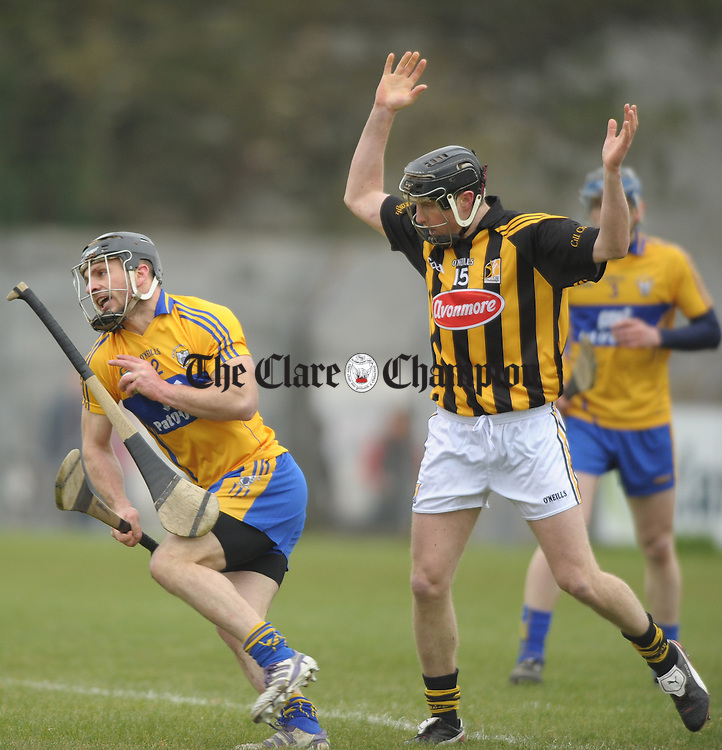 Domhnall O Donovan of Clare in action against Aidan Fogarty of Kilkenny during their national league game at Cusack park. Photograph by John Kelly.