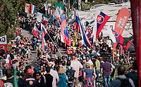 breakaway group cheered up the major climb<br /> <br /> MEN ELITE ROAD RACE<br /> Kufstein to Innsbruck: 258.5 km<br /> <br /> UCI 2018 Road World Championships<br /> Innsbruck - Tirol / Austria