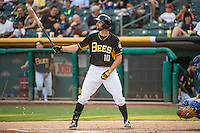 Kyle Kubitza (10) of the Salt Lake Bees at bat against the Iowa Cubs in Pacific Coast League action at Smith's Ballpark on August 21, 2015 in Salt Lake City, Utah. The Bees defeated the Cubs 12-8.  (Stephen Smith/Four Seam Images)