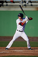 Potomac Nationals first baseman Ian Sagdal (1) at bat during the first game of a doubleheader against the Salem Red Sox on May 13, 2017 at G. Richard Pfitzner Stadium in Woodbridge, Virginia.  Potomac defeated Salem 6-0.  (Mike Janes/Four Seam Images)