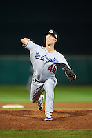 Glendale Desert Dogs pitcher Corey Copping (46), of the Los Angeles Dodgers organization, during a game against the Scottsdale Scorpions on October 14, 2016 at Scottsdale Stadium in Scottsdale, Arizona.  Scottsdale defeated Glendale 8-7.  (Mike Janes/Four Seam Images)
