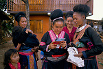 Hmong village women wearing traditional clothes Pa Kludy village, Thailand South East Asia 1990s