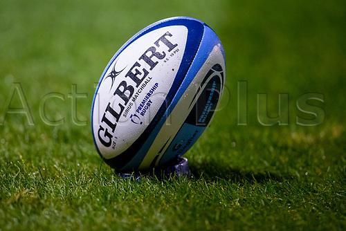 20th November 2020; AJ Bell Stadium, Salford, Lancashire, England; English Premiership Rugby, Sale Sharks versus Northampton Saints; The match ball ready for kick off