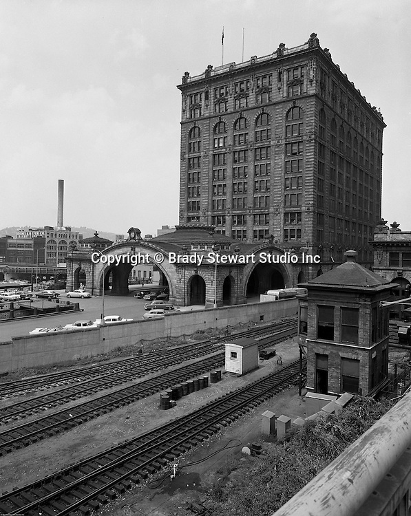 Pittsburgh PA: View of the outside of the Pennsylvania Railroad's Pittsburgh Penn Station.