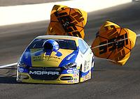 Mar 28, 2014; Las Vegas, NV, USA; NHRA pro stock driver Allen Johnson during qualifying for the Summitracing.com Nationals at The Strip at Las Vegas Motor Speedway. Mandatory Credit: Mark J. Rebilas-