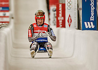 5 December 2015: Tatjana Huefner, competing for Germany, crosses the finish line on her second run of the Viessmann World Cup Women's Luge, with a combined 2-run time of 1:28.531 and a 8th place result at the Olympic Sports Track in Lake Placid, New York, USA. Mandatory Credit: Ed Wolfstein Photo *** RAW (NEF) Image File Available ***