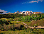 Sneffels range with wood fence at Dallas Divide, Telluride, Colorado, USA