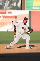 Miguel Gomez (51) of the San Jose Giants fields a ball during a game against the Lancaster JetHawks at The Hanger on August 13, 2016 in Lancaster, California. Lancaster defeated San Jose, 16-2. (Larry Goren/Four Seam Images)