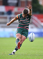 30th August 2020; Kingsholm Stadium, Gloucester, Gloucestershire, England; English Premiership Rugby, Gloucester versus Leicester Tigers; George Ford of Leicester Tigers kicks a conversion