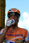 Oscar Freire (ESP) Rabobank relaxes before the start of Stage 19 of the 2010 Tour de France an individual time trial running 52km from Bordeaux to Pauillac, France. 24th July 2010.<br /> (Photo by Eoin Clarke/NEWSFILE).<br /> All photos usage must carry mandatory copyright credit (© NEWSFILE | Eoin Clarke)