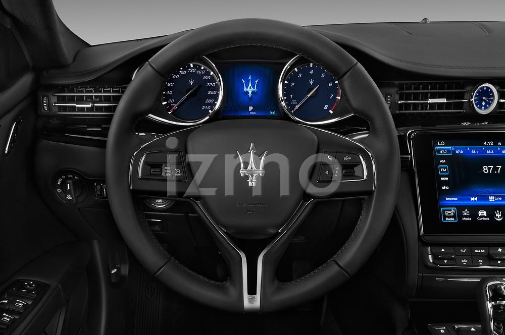 Car pictures of steering wheel view of a 2018 Maserati Quattroporte S 2WD 4 Door Sedan
