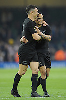 Aaron Smith jokes with Dan Carter of New Zealand during Match 23 of the Rugby World Cup 2015 between New Zealand and Georgia - 02/10/2015 - Millennium Stadium, Cardiff<br /> Mandatory Credit: Rob Munro/Stewart Communications