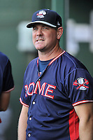 Coach Dan Meyer (53) of the Rome Braves in a game against the Greenville Drive on Wednesday, August 31, 2016, at Fluor Field at the West End in Greenville, South Carolina. Rome won, 9-1. (Tom Priddy/Four Seam Images)
