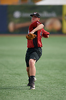 Tri-City ValleyCats Hunter Brown (45) during warmups before a NY-Penn League game against the Brooklyn Cyclones on August 17, 2019 at MCU Park in Brooklyn, New York.  Brooklyn defeated Tri-City 2-1.  (Mike Janes/Four Seam Images)