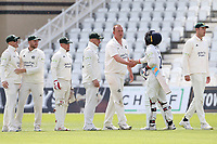Luke Fletcher of Nottinghamshire shakes hands with Shane Snater of Essex after he clinches victory for the home team during Nottinghamshire CCC vs Essex CCC, LV Insurance County Championship Group 1 Cricket at Trent Bridge on 9th May 2021
