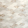 Abalone, a stone water jet cut mosaic, shown in polished Mother of Pearl, Thassos, and Afyon White.