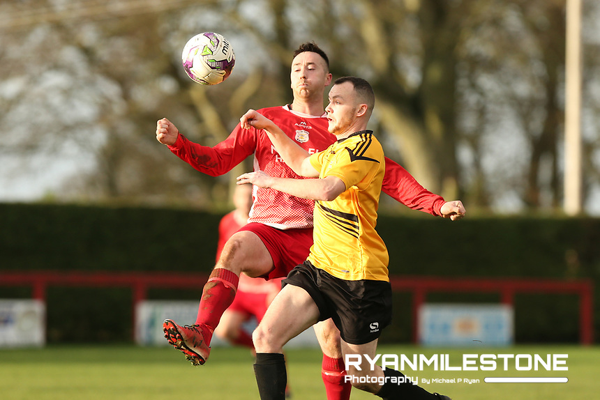 Keith Guiry of Clonmel Town in action against Rich McCarthy of Two Mile Borris during the Tipperary Cup 1st Round game between Two Mile Borris and Clonmel Town  on Sunday 9th December 2018 at Newhill, Two Mile Borris Co Tipperary. Mandatory Credit: Michael P Ryan.