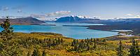 Panorama overlooking naknek lake and the Kejulik mountains from Dumpling mountain, Katmai National Park, Alaska.