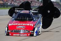 May 21, 2011; Topeka, KS, USA: NHRA funny car driver Bob Tasca III during the Summer Nationals at Heartland Park Topeka. Mandatory Credit: Mark J. Rebilas-