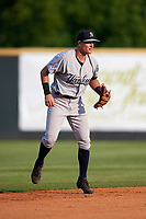 Pulaski Yankees shortstop Max Burt (17) during a game against the Greeneville Reds on July 27, 2018 at Pioneer Park in Tusculum, Tennessee.  Greeneville defeated Pulaski 3-2.  (Mike Janes/Four Seam Images)