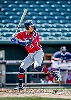 6 June 2021: Binghamton Rumble Ponies infielder Mark Vientos in action against the New Hampshire Fisher Cats at Northeast Delta Dental Stadium in Manchester, NH. The Rumble Ponies defeated the Fisher Cats 9-6 to close out their 6-game series. Mandatory Credit: Ed Wolfstein Photo *** RAW (NEF) Image File Available ***