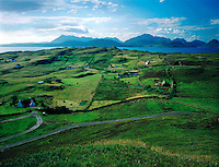 The crofting township of Tarskavaig, with the Coulin hills behind. Isle of Skye, Scottish Highlands.