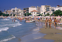Northern Europeans and other tourists flock to the beaches along Crete's northern coast. Near Hania.