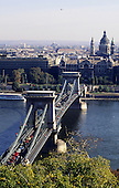 Budapest, Hungary. Aerial view of the Chain Bridge, architect William Tierney Clarke, built by Adam Clark.