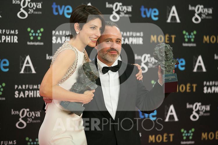 Barbara Lennie and Javier Gutierrez attend the 2015 Goya Award Winners Photocall at Auditorium Hotel, Madrid,  Spain. February 08, 2015.(ALTERPHOTOS/)Carlos Dafonte)