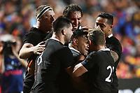17th July 2021; Hamilton, New Zealand;  The All Blacks celebrate the try of Samisoni Taukei'aho. All Blacks versus Fiji, Steinlager Series, international rugby union test match. FMG Stadium Waikato, Hamilton, New Zealand.