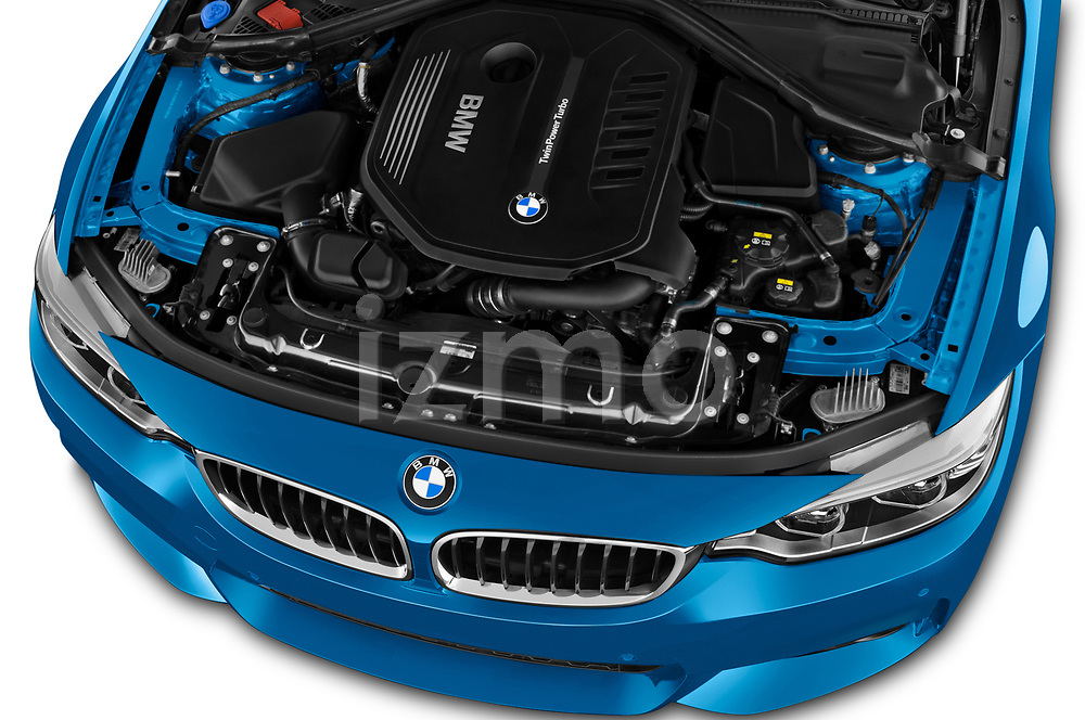 Car stock 2017 BMW 4 Series Gran Coupe M Sport 5 Door Hatchback engine high angle detail view