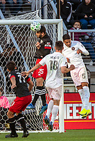 WASHINGTON, DC - MARCH 07: Steven Birnbaum #15 of DC United heads away from Nicolás Figal #5 of Inter Miami during a game between Inter Miami CF and D.C. United at Audi Field on March 07, 2020 in Washington, DC.