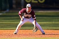 Third baseman Matt Leeds #17 of the College of Charleston Cougars on defense against the Davidson Wildcats at Wilson Field on March 12, 2011 in Davidson, North Carolina.  The Wildcats defeated the Cougars 8-3.  Photo by Brian Westerholt / Four Seam Images