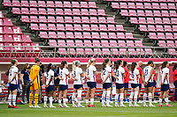 KASHIMA, JAPAN - AUGUST 2: United States singing the national anthem before a game between Canada and USWNT at Kashima Soccer Stadium on August 2, 2021 in Kashima, Japan.