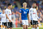 St Johnstone v Lask…26.08.21  McDiarmid Park    Europa Conference League Qualifier<br />Ali McCann looks back at Rene Renner after he was shown a yellow card for fouling him<br />Picture by Graeme Hart.<br />Copyright Perthshire Picture Agency<br />Tel: 01738 623350  Mobile: 07990 594431