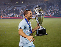 Neven Markovic (25) of Sporting Kansas City celebrates after the game at Livestrong Sporting Park in Kansas City, Kansas.   Sporting Kansas City won the Lamar Hunt U.S. Open Cup on penalty kicks after tying the Seattle Sounders in overtime.