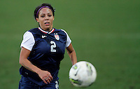 USA's Sydney Leroux fights for the ball  during their Algarve Women's Cup soccer match at Algarve stadium in Faro, March 13, 2013.  .