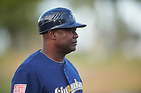 AZL Brewers Blue manager Tony Diggs (14) during an Arizona League game against the AZL Rangers on July 11, 2019 at American Family Fields of Phoenix in Phoenix, Arizona. The AZL Rangers defeated the AZL Brewers Blue 5-2. (Zachary Lucy/Four Seam Images)