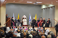 Pope Benedict XVI meets with religious community leaders in Israel, at the Church of the Annunciation, believed to stand at the site of Mary's house where angel Gabriel appeared and announced that she would give birth to Jesus Christ, in Nazareth, northern Israel, Thursday, May 14, 2009.